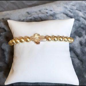Swarovski Beaded Stretchy Bracelet with Cross